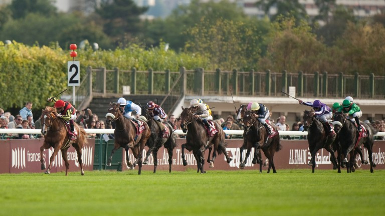 The most recent Arc to be run on ground described officially as heavy saw Solemia (sheepskin noseband) defeat Orfevre in a dramatic climax to the 2012 Arc