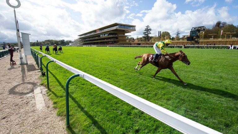 Sealiway (Mickael Barzalona) is eight lengths clear at the line to win the Lagardere
