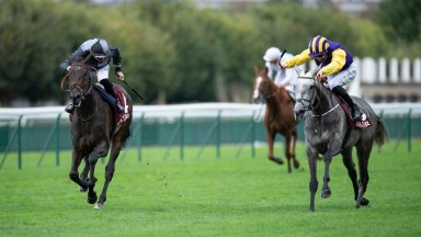 Princess Zoe (right) reels in longtime leader Alkuin to land the Group 1 Prix du Cadran