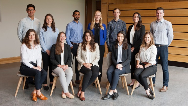 Godolphin Flying Start's second-year trainees, with Caitlin Smith seated second from right