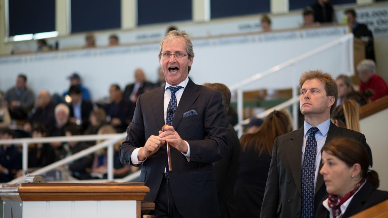 Auctioneer John O'Kelly gets animated on the rostrum during last year's Book 1 of the Tattersalls October Yearling Sale