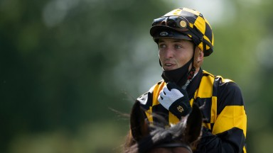 Kevin Stott soaks up victory on Hello Youmzain in the Diamond Jubilee Stakes