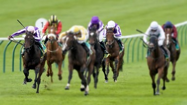 NEWMARKET, ENGLAND - OCTOBER 09: Shane Crosse riding Pretty Gorgeous (yellow) win The bet365 Fillies' Mile at Newmarket Racecourse on October 09, 2020 in Newmarket, England. Owners are allowed to attend if they have a runner at the meeting otherwise racin