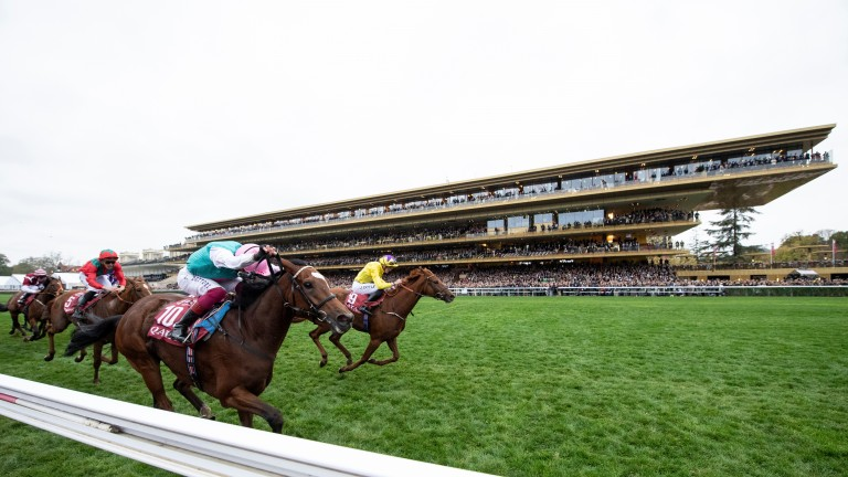 Enable (near side) wins the second of her two Arcs in 2018
