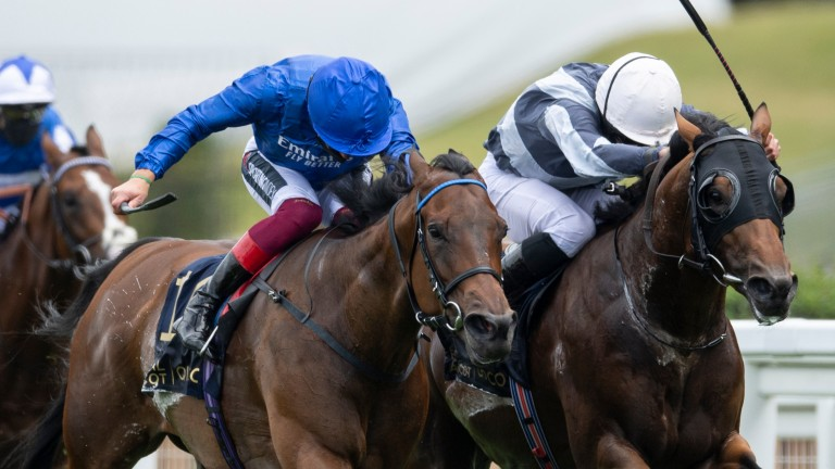 Circus Maximus (right) battles to fend off Terebellum in the 2020 Queen Anne Stakes
