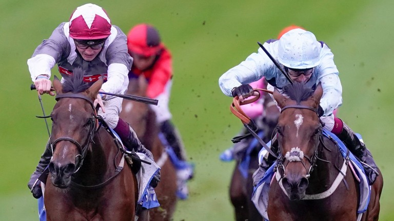 Jouska (left): wins the Listed Boadicea Stakes at Newmarket