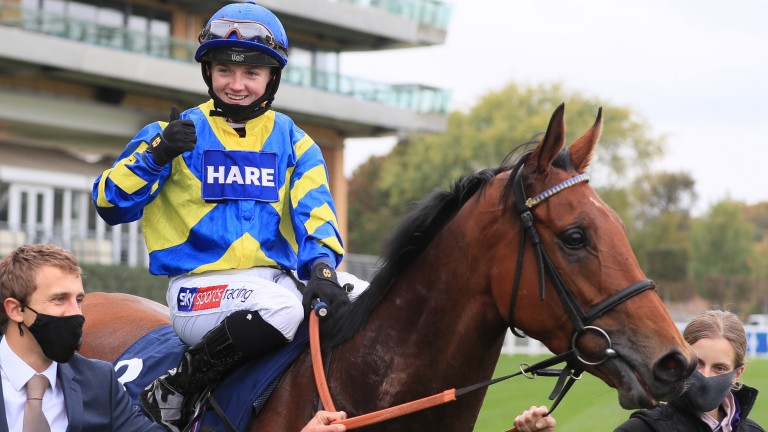 The start of a great day for Hollie Doyle as she celebrates success on Trueshan in the Long Distance Cup