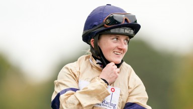 ASCOT, ENGLAND - OCTOBER 17: Hollie Doyle after riding Glen Shiel to win The Qipco British Champions Sprint Stakes during the Qipco British Champions Day at Ascot Racecourse on October 17, 2020 in Ascot, England. Owners are allowed to attend if they have