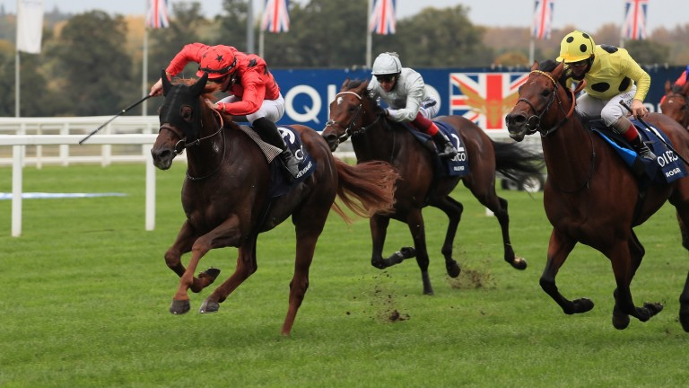 The Revenant (red silks) hits the front to deny Roseman (right) and Palace Pier