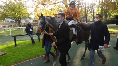 Kevin Nabet and Paul's Saga after winning the G1 Grande Course de Haies at Auteuil
