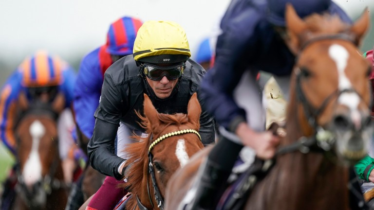 Frankie Dettori and Stradivarius during Saturday's Qipco Long Distance Cup