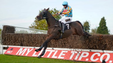 PLUMPTON, ENGLAND - OCTOBER 19: David Crosse ridng Hab Sab clear the last to win The Nick Embiricos Memorial 2020 Handicap Chase at Plumpton Racecourse on October 19, 2020 in Plumpton, England. Owners are allowed to attend if they have a runner at the mee