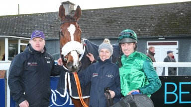 Thurles Sun 20 January 2019Ucello Conti with Gordon Elliott, Eleri Apps and Barry O'Neill after winning The Arctic Tack Stud Hunters Steeplechase Photo.carolinenorris.ie