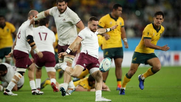 Georgia scrum-half Vasil Lobzhanidze in World Cup action against Australia