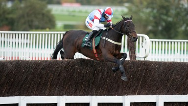 Rouge Vif (Daryl Jacob) jump the last fence and win the 2m handicap chaseCheltenham 23.10.20 Pic: Edward Whitaker/ Racing Post