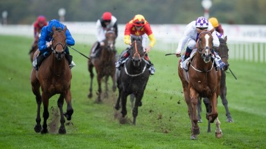 Mac Swiney (Kevin Manning,right) beats One Ruler (William Buick,left) in the Vertem Futurity Trophy StakesDoncaster 24.10.20 Pic: Edward Whitaker/Racing Post