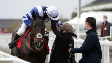 CHELTENHAM, ENGLAND - OCTOBER 24: Frodon ridden by Bryony Frost celebrate after winning the Matchbook Betting Exchange Handicap Chase at Cheltenham Racecourse on October 24, 2020 in Cheltenham, England. (Photo by David Davies - Pool/Getty Images)