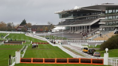 CHELTENHAM, ENGLAND - OCTOBER 24: A view of the empty stands during the Masterson Holdings Hurdle at Cheltenham Racecourse on October 24, 2020 in Cheltenham, England. (Photo by David Davies - Pool / Getty Images)
