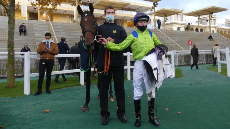 Joe Fanning and Subjectivist after winning the Prix Royal-Oak at Longchamp