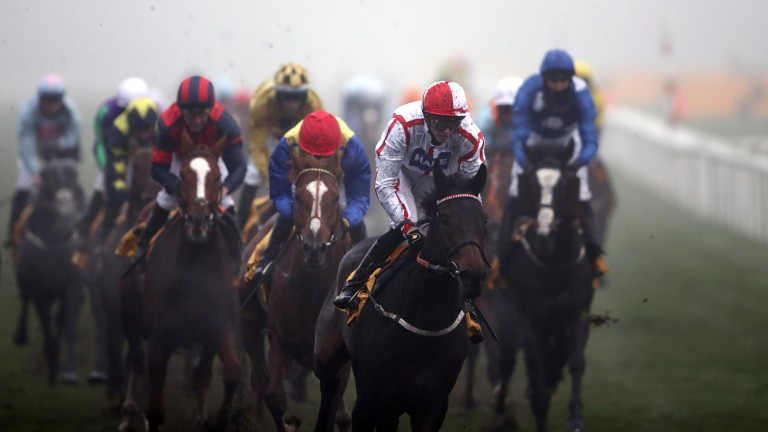 DONCASTER, UNITED KINGDOM - NOVEMBER 7:  On To Victory ridden by James Doyle on their way to winning the Betfair November Handicap at Doncaster Racecourse on November 7, 2020 in Doncaster, England. (Photo by Tim Goode - Pool/Getty Images)