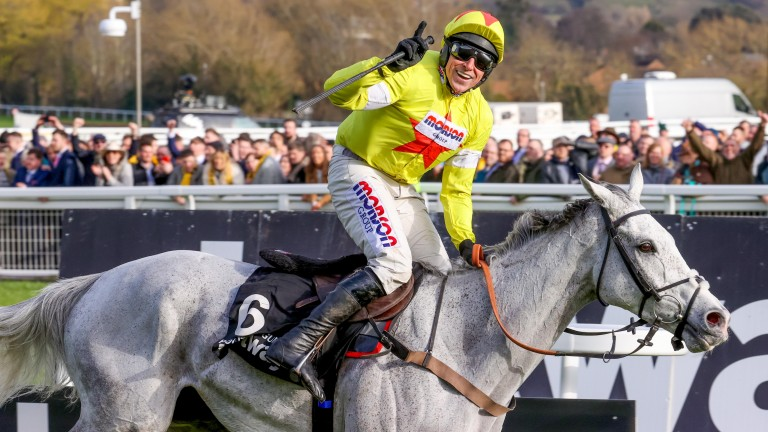 Harry Skelton can't hide his delight as he wins the Champion Chase on Politologue