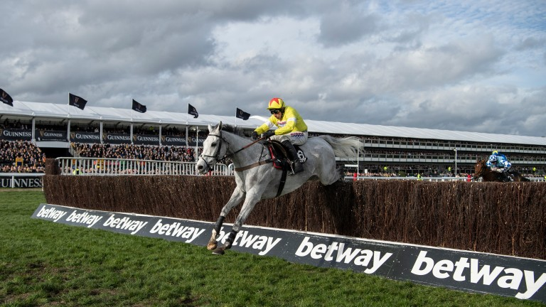 Politologue (Harry Skelton) jumps the last fence to win the Champion Chase at the 2020 Cheltenham Festival