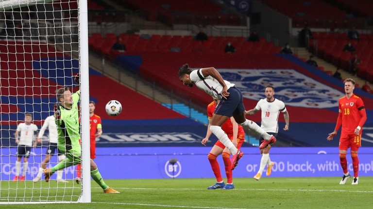 Dominic Calvert-Lewin scores England's first goal in the 3-0 friendly win over Wales