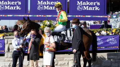 James and Jacko Fanshawe in the Keeneland winner's enclosure after Audarya's victory in the Breeders' Cup Filly and Mare Turf