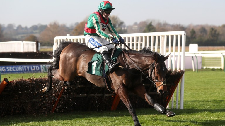 Adagio on his way to a winning debut over hurdles at Warwick eight days ago