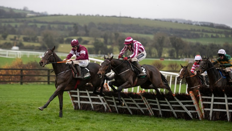 Abacadabras and Jack Kennedy on their way to victory in the Morgiana Hurdle