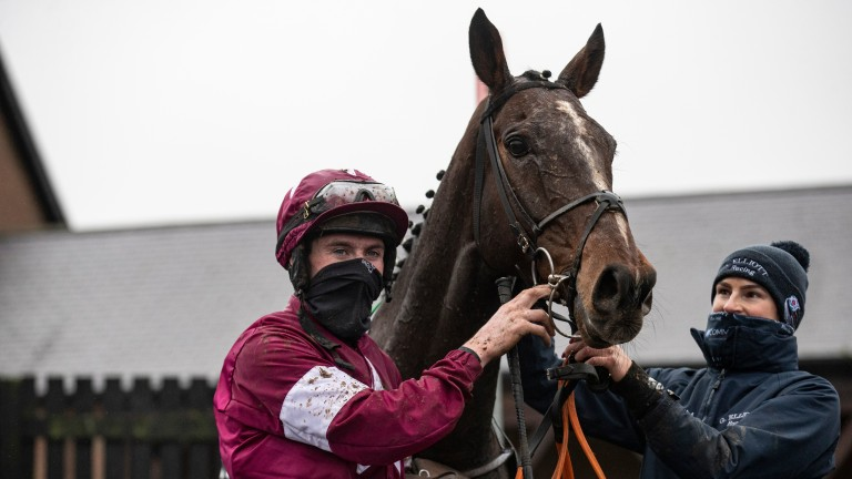 Abacadabras and Jack Kennedy in the winner's enclosure at Punchestown