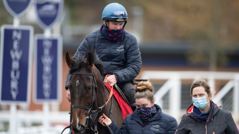 Paisley Park (Barry Fenton) and trainer Emma Lavelle (right) at Newbury this month