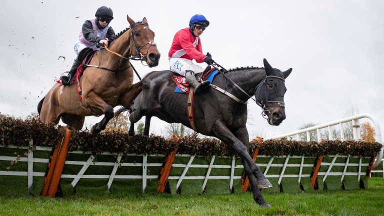 Ferny Hollow (right) outpoints Bob Olinger at the last in the maiden hurdle at Gowran Park