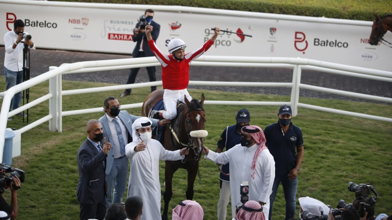 Lee Newman celebrates Bahrain International success, a year on from finishing third