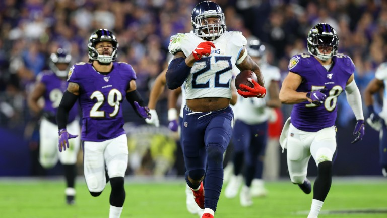 Tennessee Titans running back Derrick Henry had 195 rushing yards against the Baltimore Ravens in the AFC playoffs last season