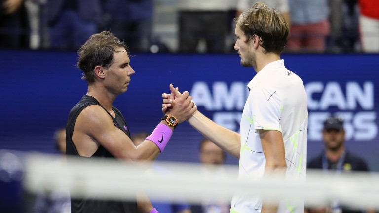 Daniil Medvedev (right) is drawn on the opposite side to Rafael Nadal