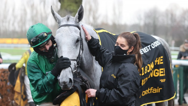 Daryl Jacob and groom Bohemia Houghton thank Bristol De Mai after the grey had recaptured the Betfair Chase in spectacular style