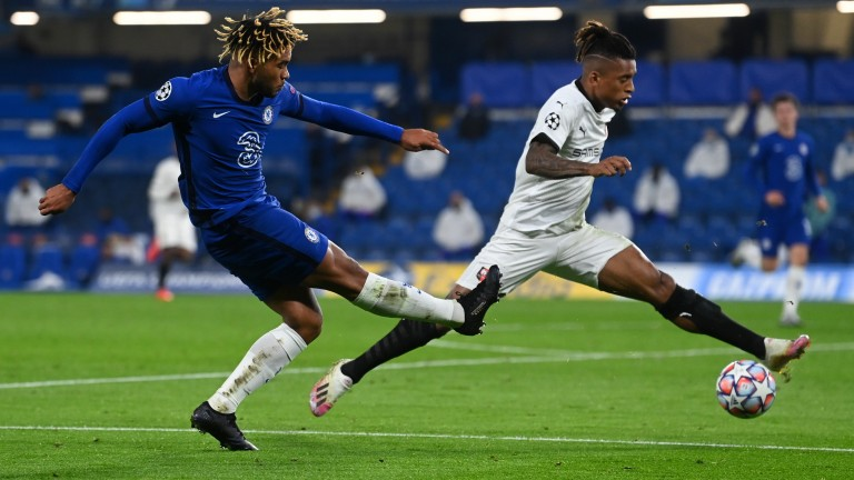 Chelsea full-back Reece James tries to cross the ball against Rennes