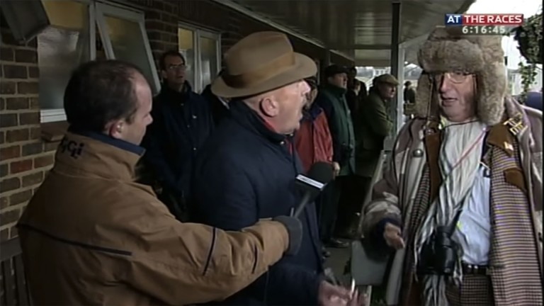 TV gold: Luke Harvey (left) with Barney Curley and John McCririck at Folkestone in 2005