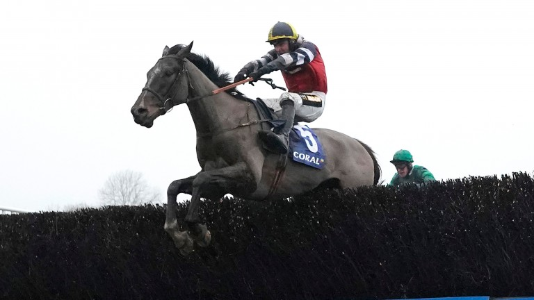 Potters Corner and Jack Tudor clear the last to win the 2019 Coral Welsh Grand National