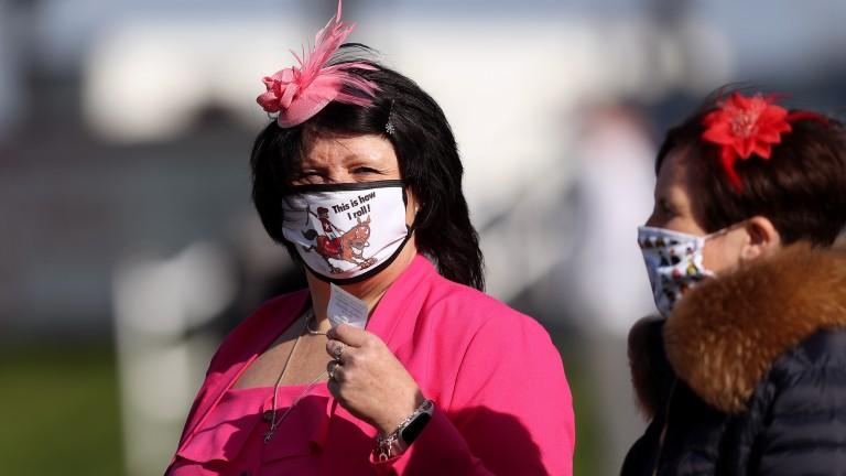 Racegoers sporting racing-themed masks as crowds returned last week