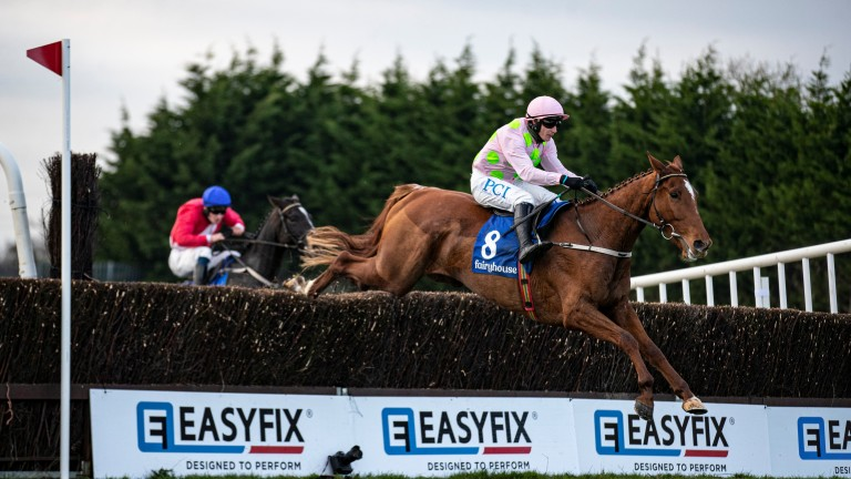 Monkfish and Paul Townend put in a clean jump at the last fence at Fairyhouse