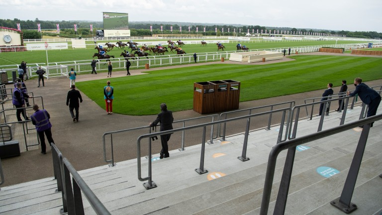 Motakhayyel wins the Buckingham Palace Handicap in front of near-deserted stands at Royal Ascot last year