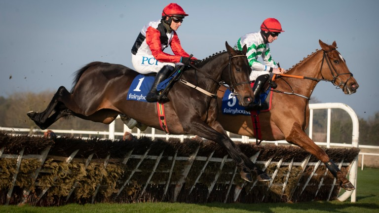 Zanahiyr (right) jumps with Saint Sam on his way to victory at Fairyhouse