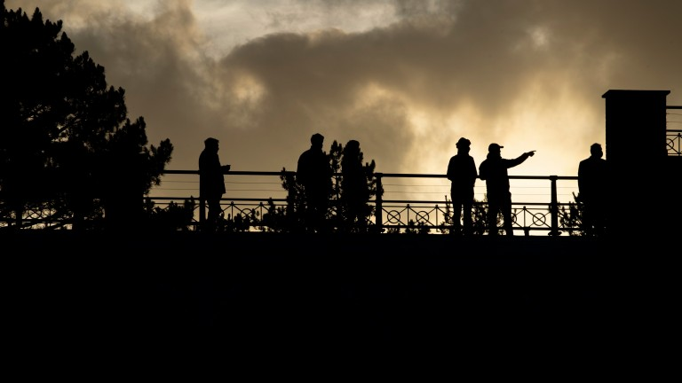 As the day draws to a close, racegoers enjoy the last from the viewing platform at Ludlow