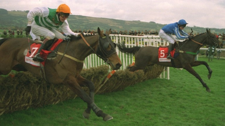 Karshi (far side) landed the Stayers' Hurdle for Lord Vestey in 1997