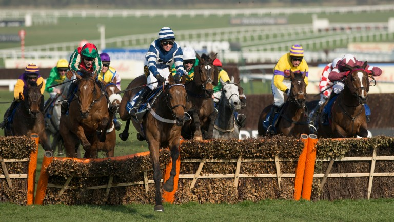 Whisper (Nico de Boinville) leads over the final flight to land the 2014 Coral Cup
