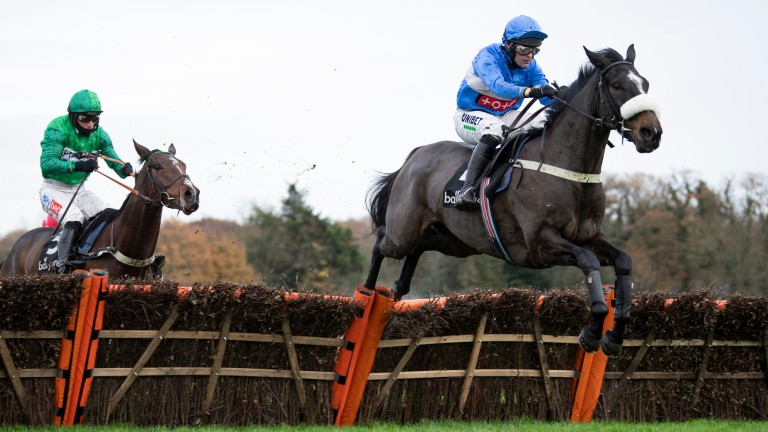 Star Gate (Nico de Boinville) skips over the last before seeing off Valleres in the Winter Novices' Hurdle