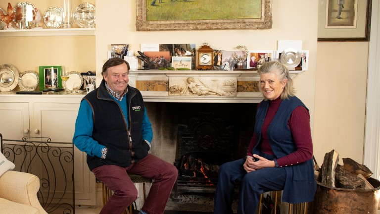 Henderson and his wife Sophie in the drawing room at Seven Barrows