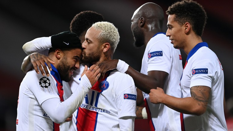 PSG celebrate the 3-1 win at Manchester United on matchday five